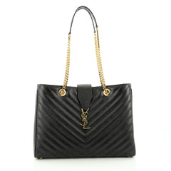 Saint Laurent Classic Monogram Shopper Matelasse Chevron Leather Large black