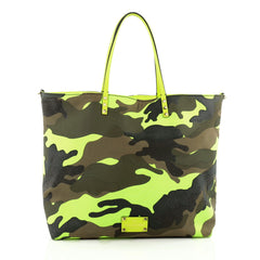 Valentino Rockstud Open Reversible Convertible Tote Camo Canvas Large green