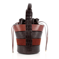 Salvatore Ferragamo Cut-Out Bucket Bag Crocodile and Ostrich with Suede Medium brown