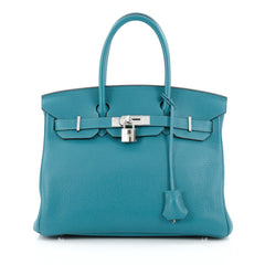 Hermes Birkin Handbag Blue Clemence with Palladium Hardware 30 blue