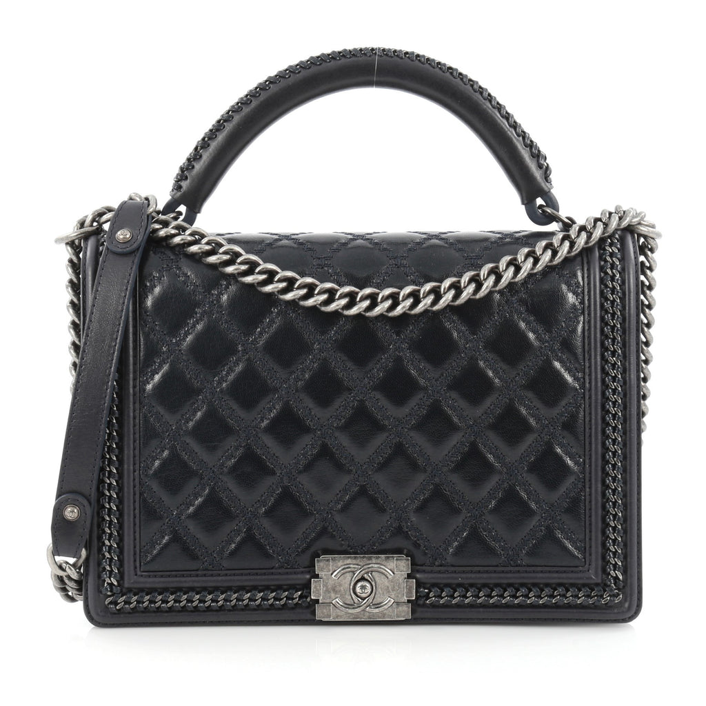 7eae7d23f780a6 Buy Chanel Chain Handle Boy Flap Bag Quilted Calfskin Large 1505801 – Rebag