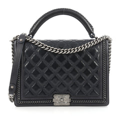 Chanel Chain Handle Boy Flap Bag Quilted Calfskin Large Black