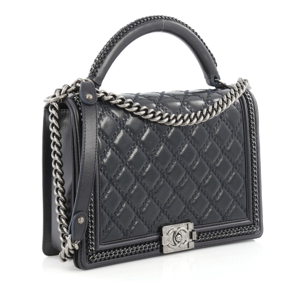 6cd2bb42b6c404 Buy Chanel Chain Handle Boy Flap Bag Quilted Calfskin Large 1505801 ...