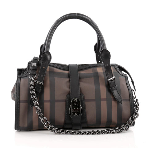 076dcc8e4e0f Buy Burberry Chain Lock Satchel Smoked Check Coated Canvas 1509001 – Rebag