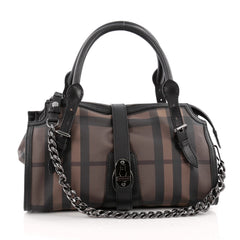 Burberry Chain Lock Satchel Smoked Check Coated Canvas Medium brown