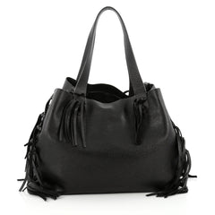 Valentino C-Rockee Fringe Tote Leather Large black