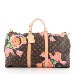 Louis Vuitton Keepall Bag Limited Edition Monogram Canvas Roses 50 Brown