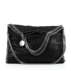 Stella McCartney Falabella Fold Over Bag Shaggy Deer Black
