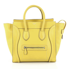 Celine Luggage Handbag Grainy Leather Mini Yellow