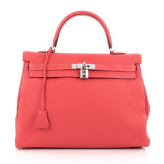 Hermes Kelly Handbag Red Togo with Palladium Hardware 35 Red