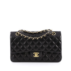 Chanel Classic Double Flap Bag Quilted Lambskin Medium Black