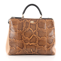 Dolce & Gabbana Sicily Convertible Shopping Tote Python with Leather Medium Brown