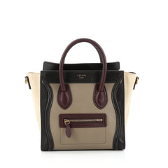Celine Tricolor Luggage Handbag Leather Nano Black