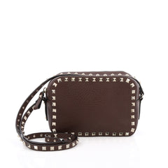Valentino Rockstud Camera Crossbody Bag Leather Brown