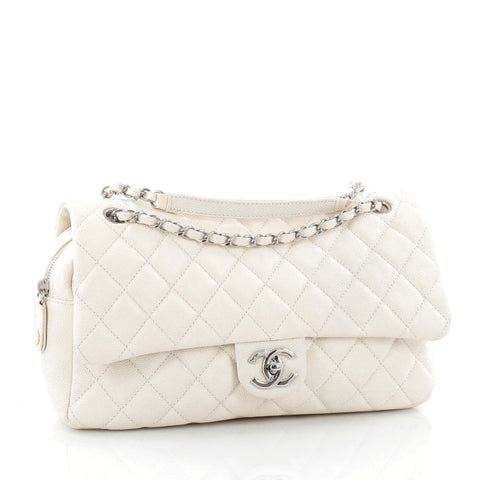 68026fc40f5f Buy Chanel Easy Flap Bag Quilted Caviar Jumbo White 1529002 – Rebag