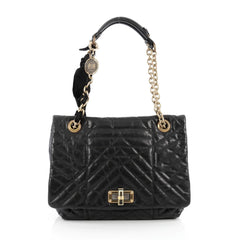 Lanvin Happy Shoulder Bag Quilted Leather Medium black