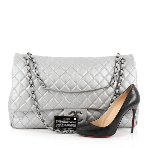 c3f0ae413e39b0 Buy Chanel Airlines CC Flap Bag Quilted Calfskin XXL Silver 1533601 ...