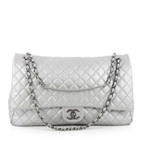 fc9f5480103b7d Buy Chanel Airlines CC Flap Bag Quilted Calfskin XXL Silver 1533601 – Rebag