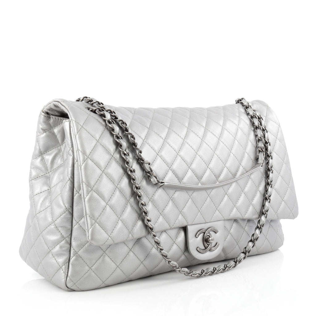 1bcd05f9e863 Buy Chanel Airlines CC Flap Bag Quilted Calfskin XXL Silver 1533601 ...