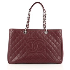 Chanel Grand Shopping Tote Quilted Caviar XL red