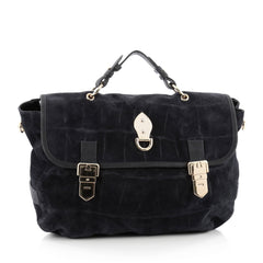 Mulberry Tillie Satchel Crocodile Embossed Suede Medium blue