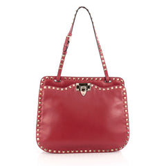 Valentino Rockstud Shoulder Bag Leather red
