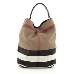 Burberry Ashby Handbag House Check Canvas Medium Brown