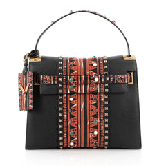 Valentino My Rockstud Convertible Satchel Tribal Embellished Leather Medium black