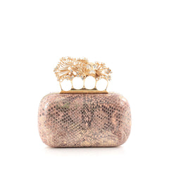 Alexander McQueen Flower Skull Knuckle Box Clutch Python Small pink