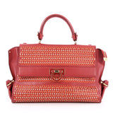 Salvatore Ferragamo Sofia Satchel Woven Leather Medium Red