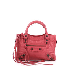 Balenciaga City Classic Studs Handbag Leather Mini Pink