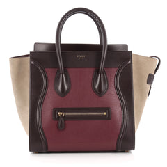 Celine Tricolor Luggage Handbag Leather Mini purple
