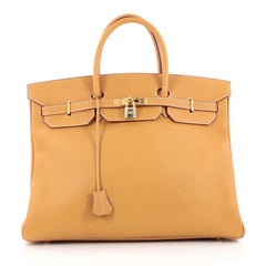 Hermes Birkin Handbag Brown Fjord with Gold Hardware 40 neutral