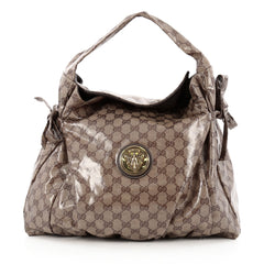 Gucci Hysteria Fold Over Hobo GG Coated Canvas Medium brown