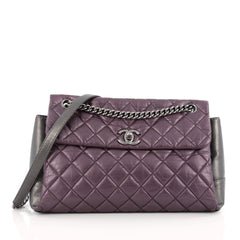 Chanel Lady Pearly Flap Bag Aged Quilted Calfskin Medium purple