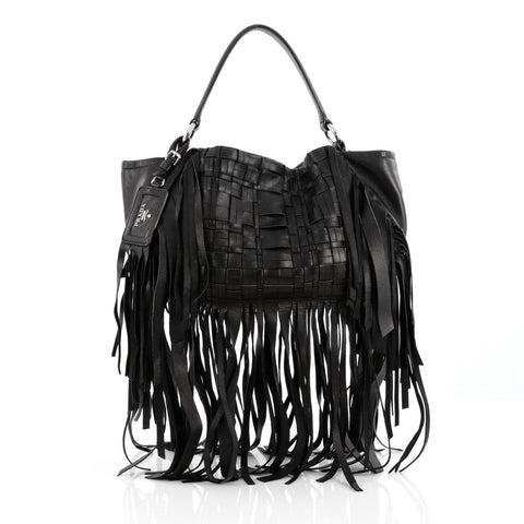 db8f1e6e2843 Buy Prada Convertible Fringe Shoulder Bag Woven Nappa 1567701 – Rebag