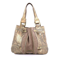 Jimmy Choo Mona Tote Python and Suede Small Neutral