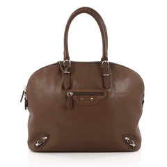 Balenciaga Carousel Bowling Bag Classic Studs Leather Large Brown