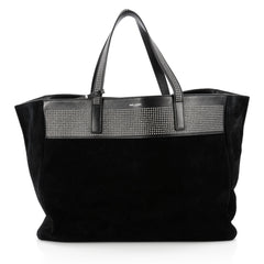 Saint Laurent Reversible East West Shopper Tote Studded Leather and Suede Black