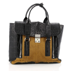 3.1 Phillip Lim Pashli Satchel Crocodile Embossed Leather and Calf Hair Medium black