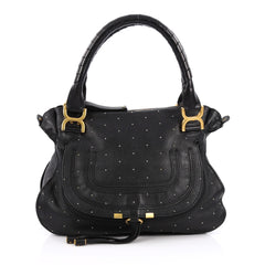 Chloe Marcie Satchel Studded Leather Medium Black