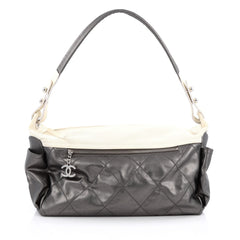 Chanel Biarritz Hobo Quilted Coated Canvas Large Gray