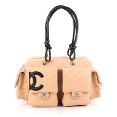 Chanel Cambon Multipocket Reporter Handbag Quilted Lambskin Large