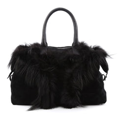 Saint Laurent Easy Y Bag Suede with Fox Fur Medium Black
