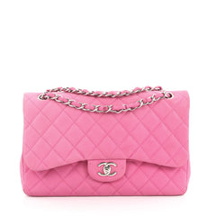 Chanel Classic Double Flap Bag Quilted Matte Caviar Jumbo Pink