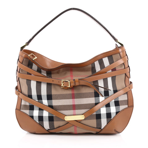 08b0927419a8 Buy Burberry Bridle Dutton Hobo House Check and Leather 1586101 – Rebag