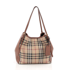 Burberry Canterbury Tote Horseferry Check Canvas and Leather Small Brown