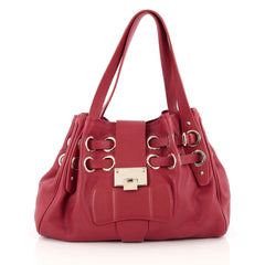 Jimmy Choo Riki Hobo Leather Red