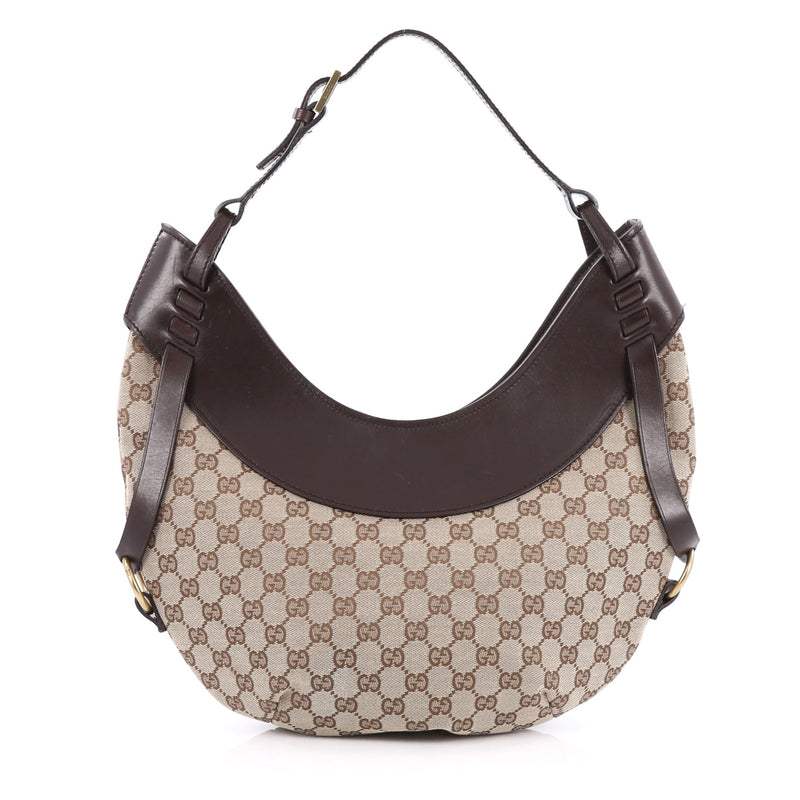 0c0aa4b85 Buy Gucci Crescent Hobo GG Canvas Medium Brown 1589705 – Rebag