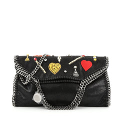 Stella McCartney Falabella Fold Over Bag Embellished Shaggy Deer Small black